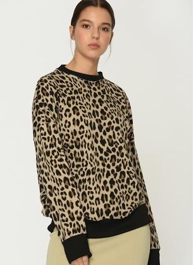 Loves You Leopar Desen Loose Fit Sweatshirt Camel